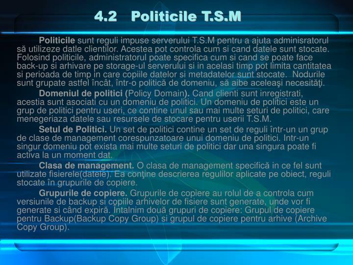 4.2   Politicile T.S.M