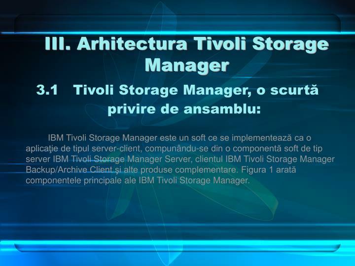III. Arhitectura Tivoli Storage Manager