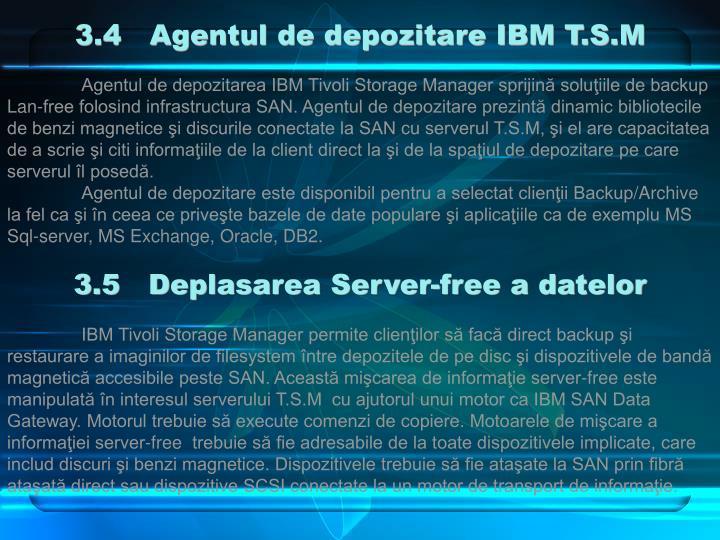 3.4   Agentul de depozitare IBM T.S.M