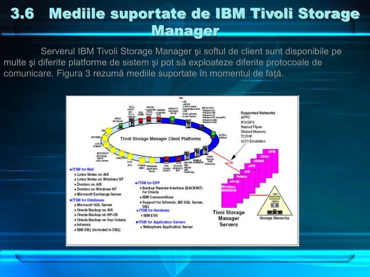 3.6   Mediile suportate de IBM Tivoli Storage Manager