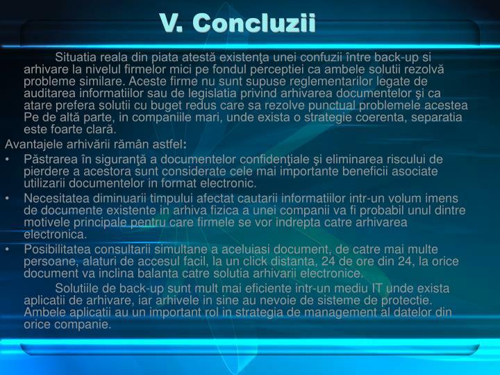 V. Concluzii