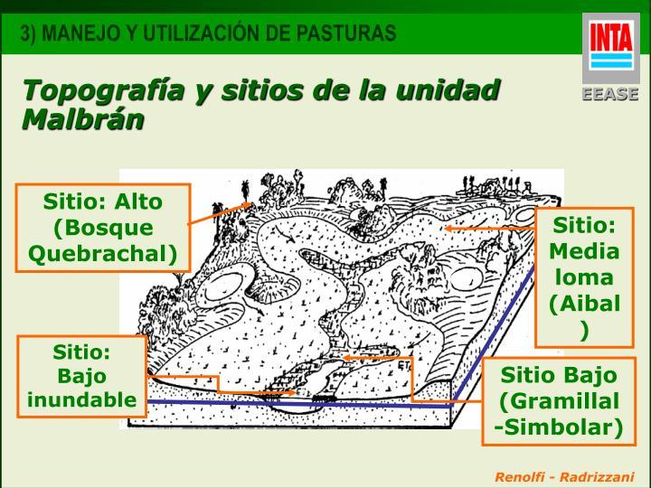 Topografía y sitios de la unidad Malbrán