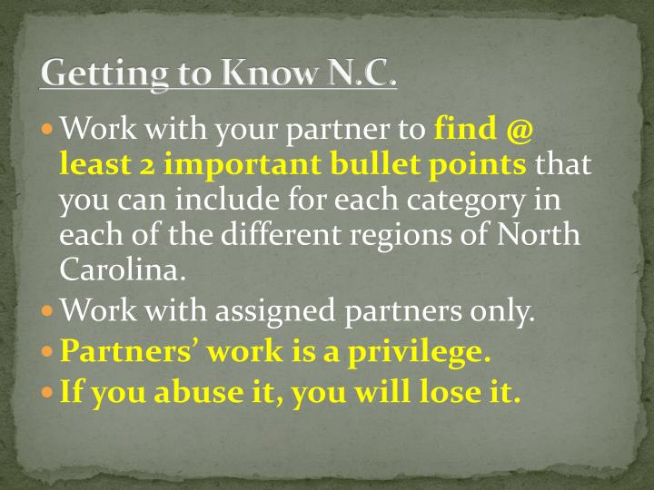 Getting to Know N.C.