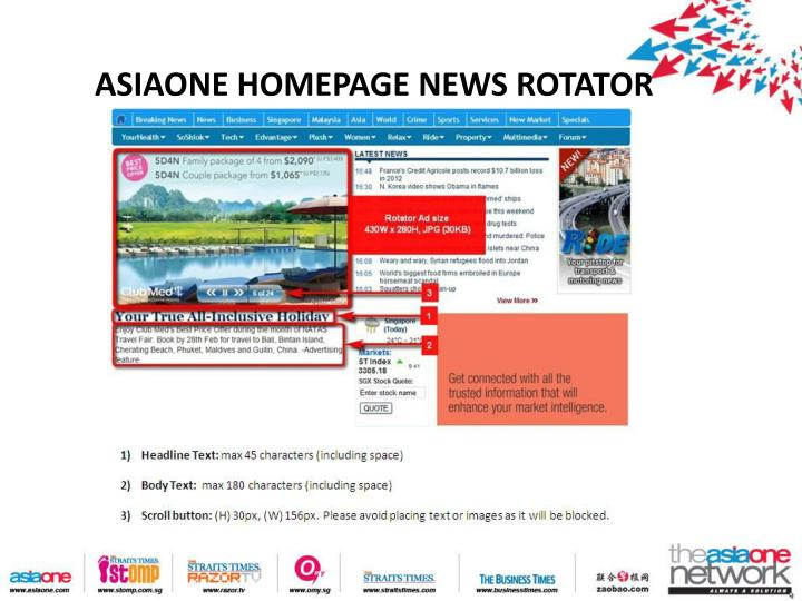 Asiaone homepage news rotator