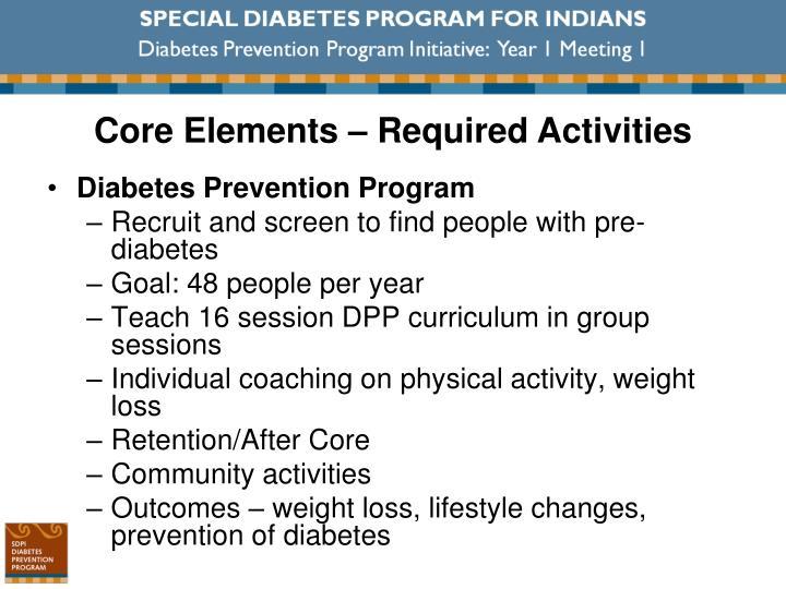 Core Elements – Required Activities