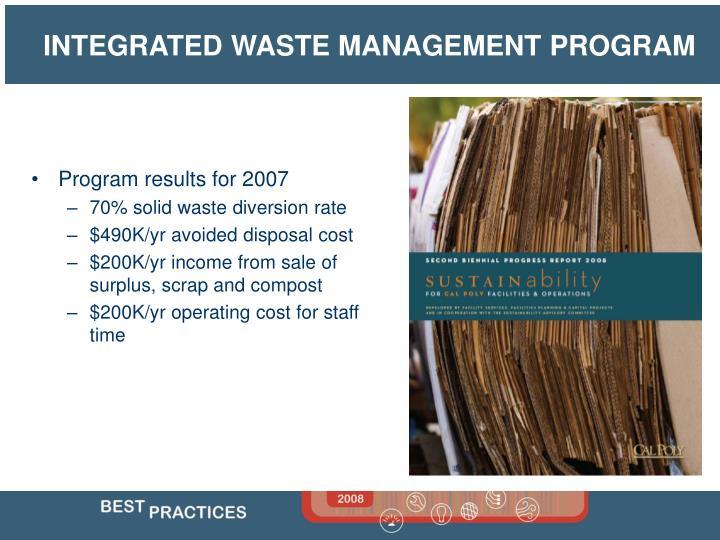 Program results for 2007