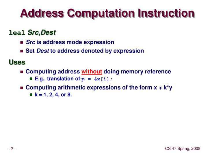 Address Computation Instruction
