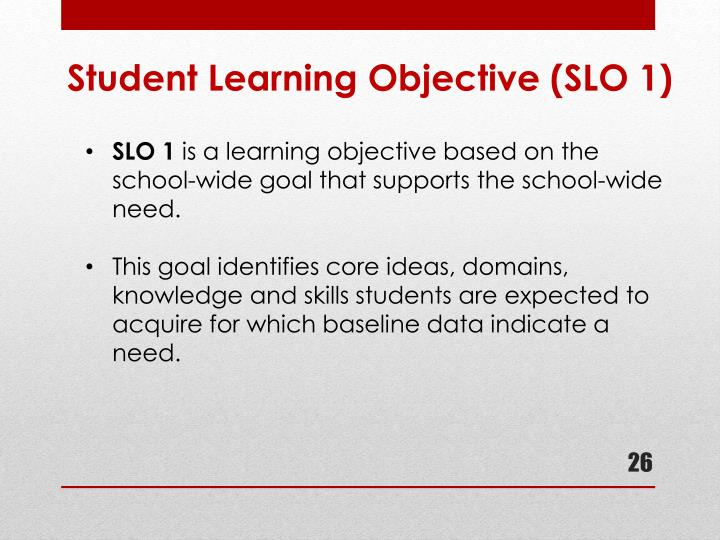 Student Learning Objective (SLO 1)