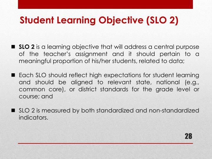 Student Learning Objective (SLO 2)