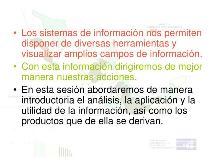 Los sistemas de información nos permiten disponer de diversas herramientas y visualizar amplios campos de información.