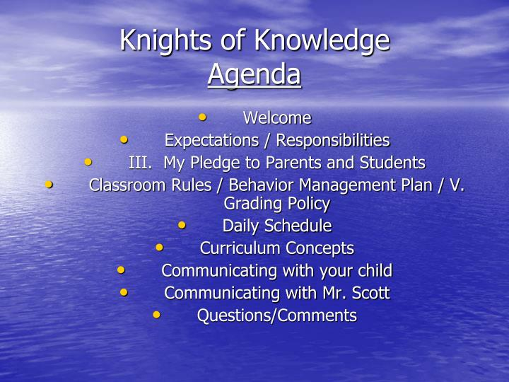 Knights of knowledge agenda