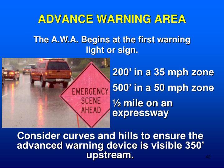 ADVANCE WARNING AREA