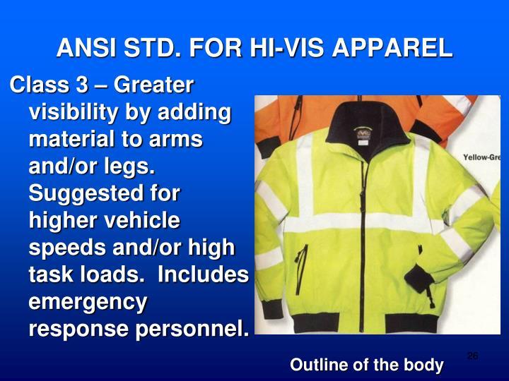 ANSI STD. FOR HI-VIS APPAREL