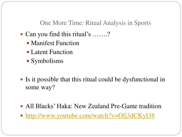 One More Time: Ritual Analysis in Sports