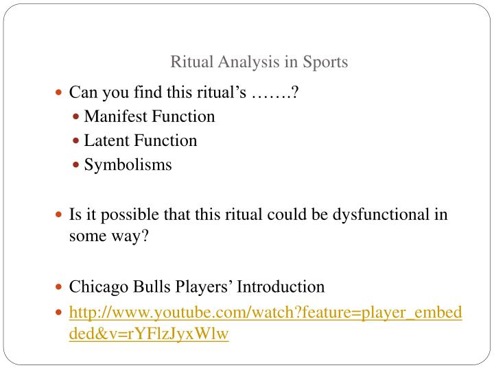 Ritual Analysis in Sports