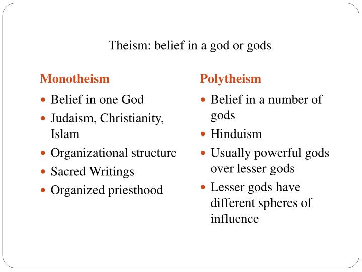 Theism: belief in a god or gods