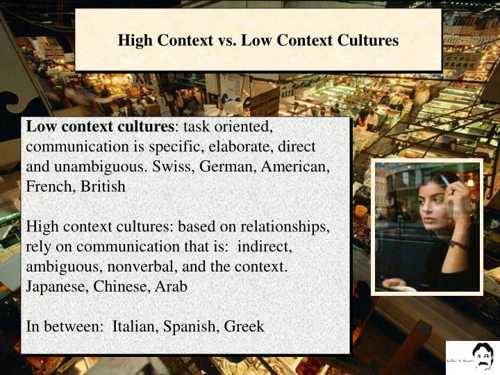 High Context vs. Low Context Cultures