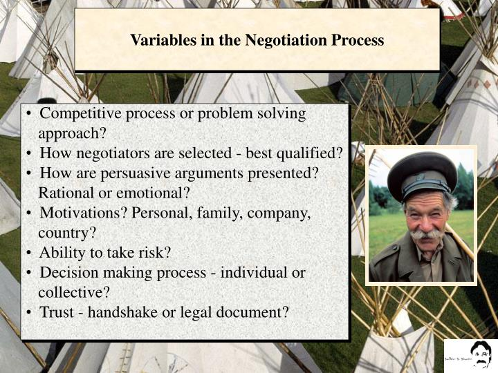 Variables in the Negotiation Process