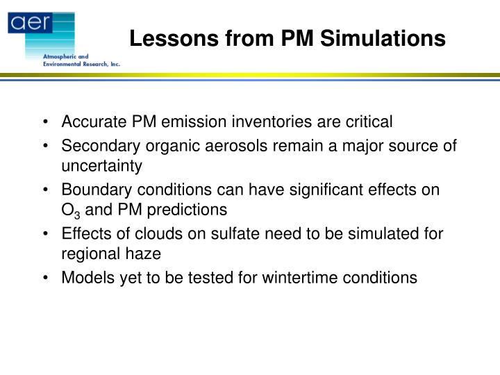 Lessons from PM Simulations