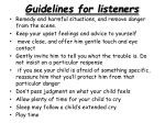 guidelines for listeners