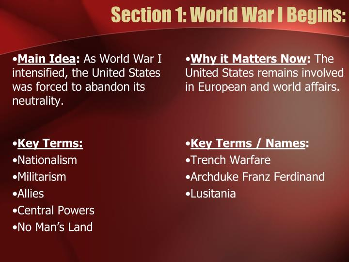 Section 1: World War I Begins: