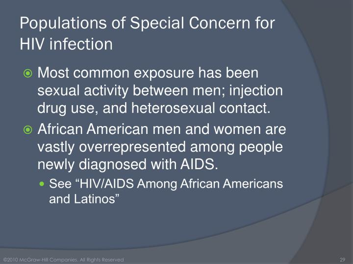 Populations of Special Concern for HIV infection