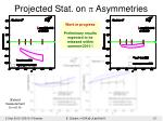 projected stat on p asymmetries