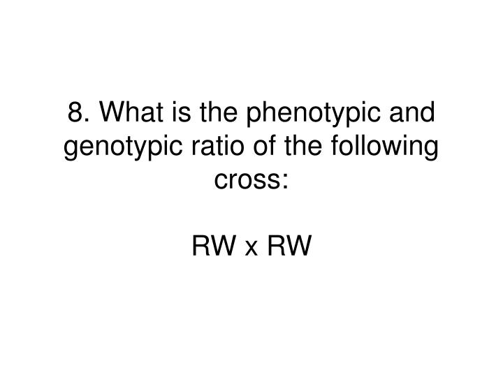 8. What is the phenotypic and genotypic ratio of the following cross:
