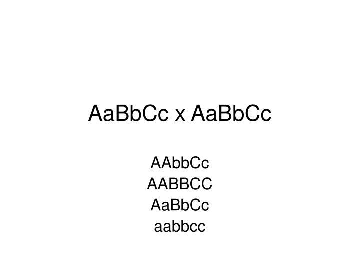 AaBbCc x AaBbCc