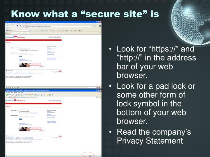 "Know what a ""secure site"" is"