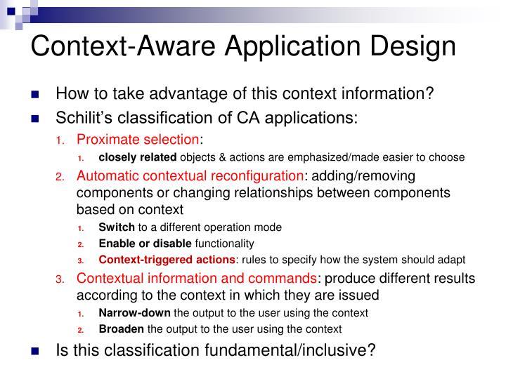 Context-Aware Application Design
