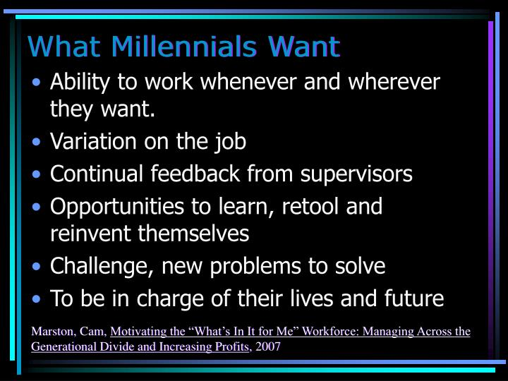 What Millennials Want