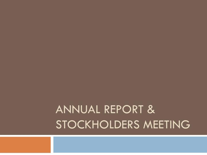 annual meeting of stockholders Letter from the chairman & chief executive officer dear fellow shareholder: i am pleased to invite you to attend our 2016 annual meeting of shareholders.