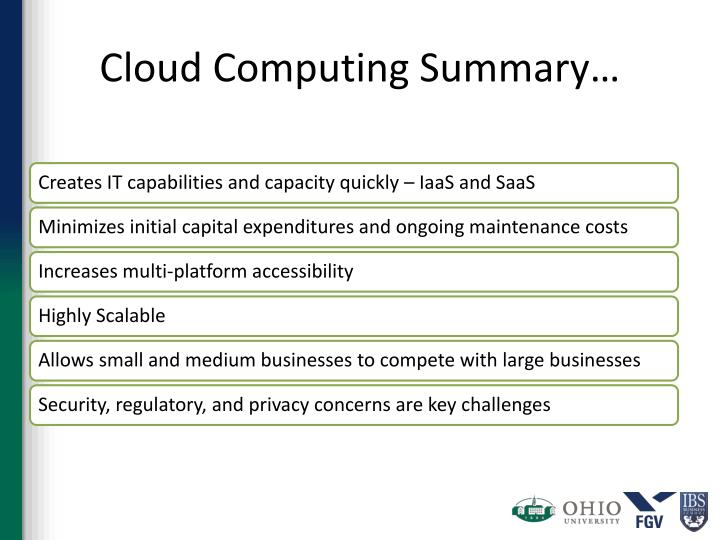 Cloud Computing Summary…