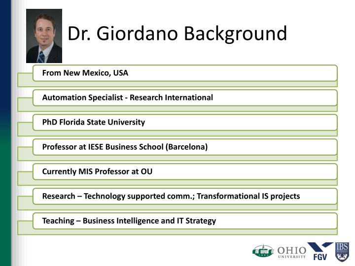 Dr giordano background
