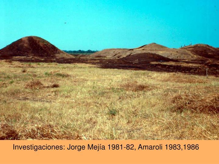 Investigaciones: Jorge Mejía 1981-82, Amaroli 1983,1986