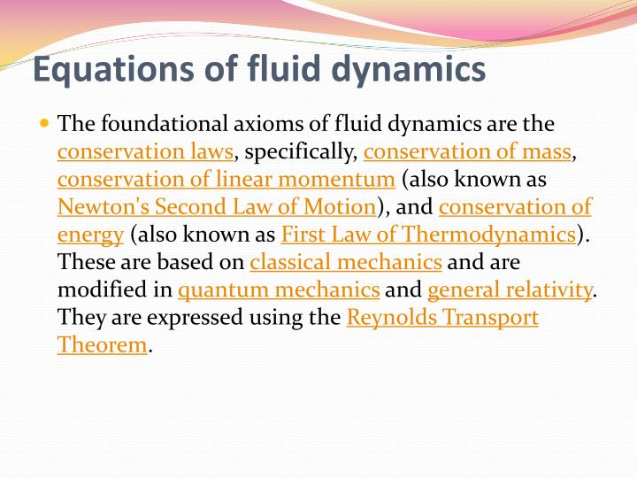 Equations of fluid dynamics