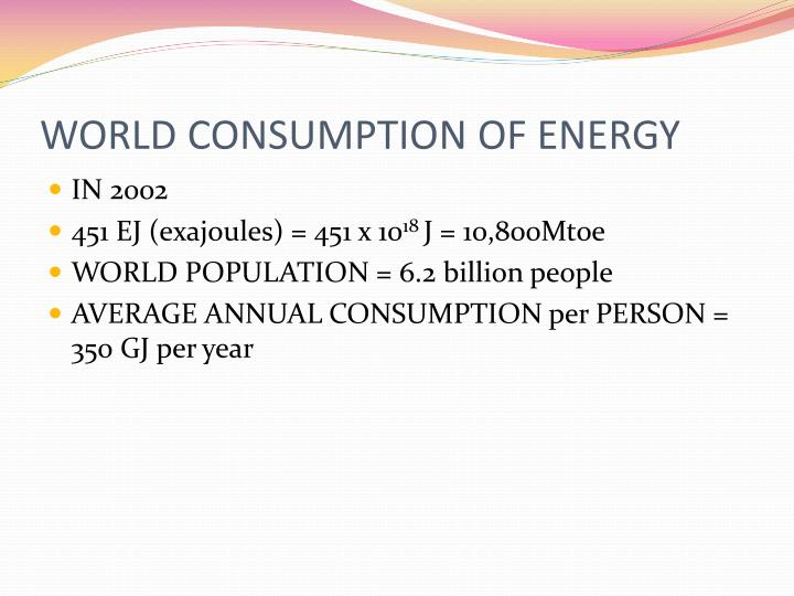 WORLD CONSUMPTION OF ENERGY