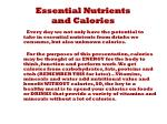 essential nutrients and calories1