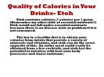 quality of calories in your drinks etoh