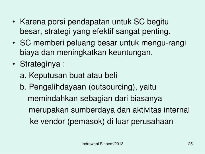 Karena porsi pendapatan untuk SC begitu besar, strategi yang efektif sangat penting.
