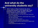 and what do the university students say