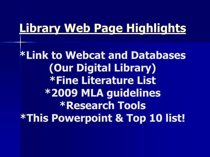 Library Web Page Highlights
