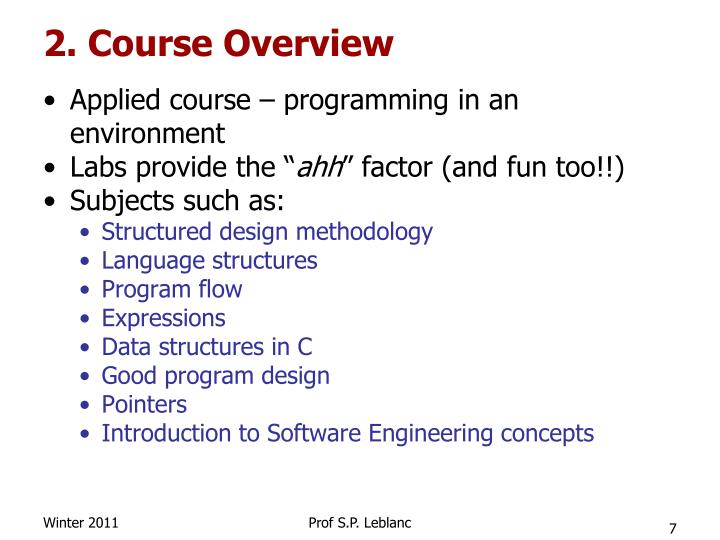 2. Course Overview