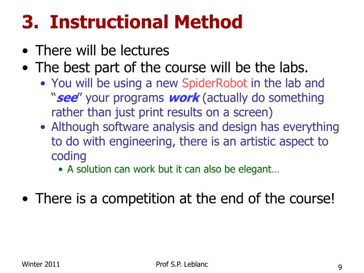 3.  Instructional Method