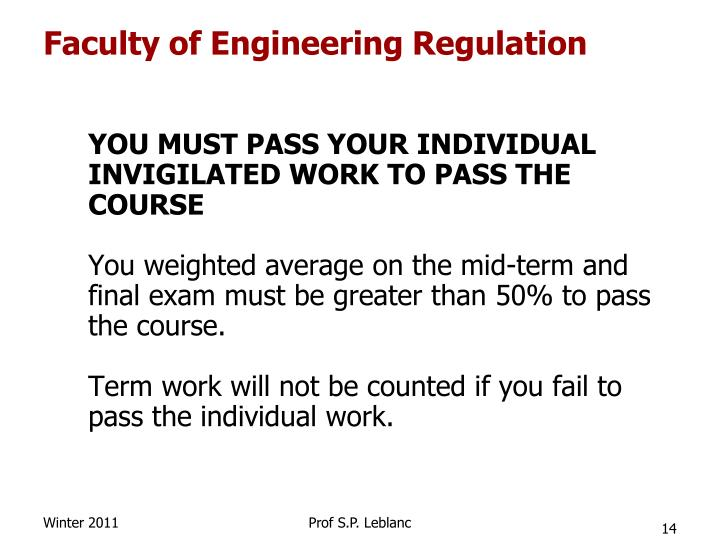 Faculty of Engineering Regulation