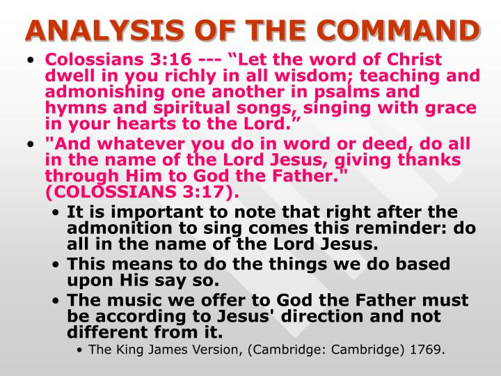 ANALYSIS OF THE COMMAND