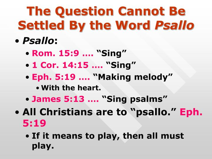The Question Cannot Be Settled By the Word