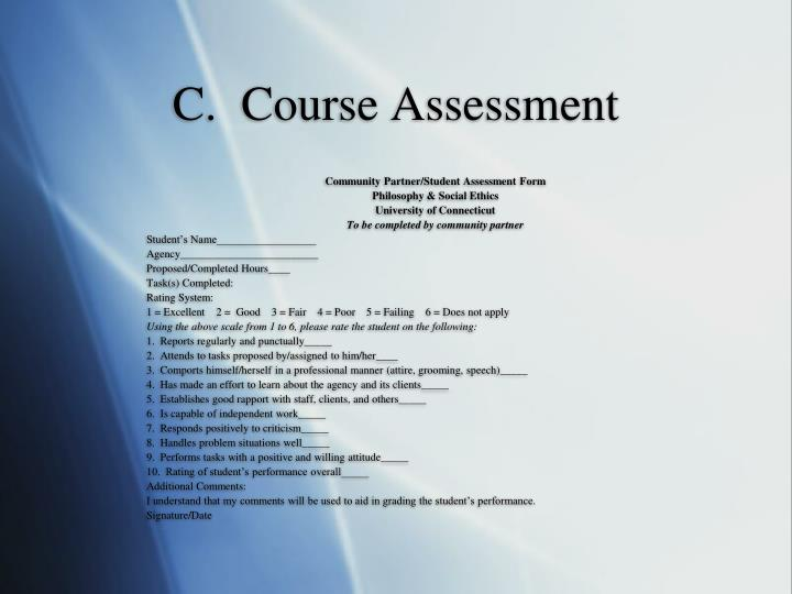 C.  Course Assessment
