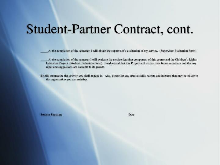 Student-Partner Contract, cont.